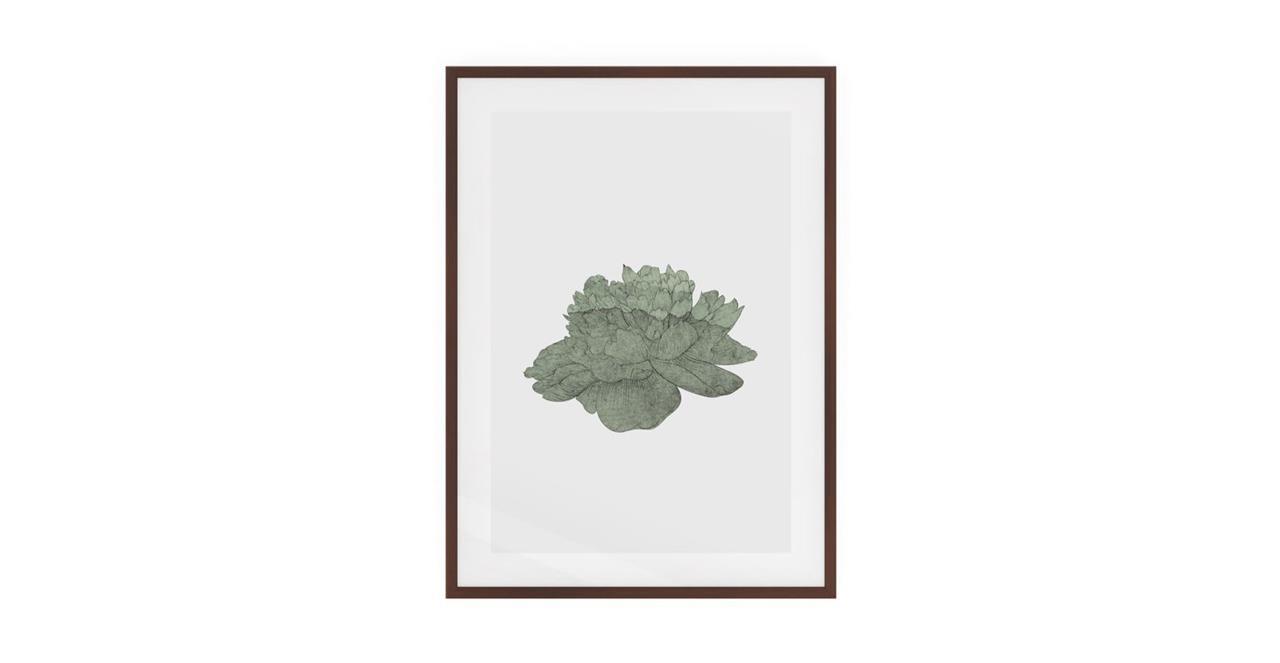 The Flowering Print Dark Brown Wood Frame Medium Green