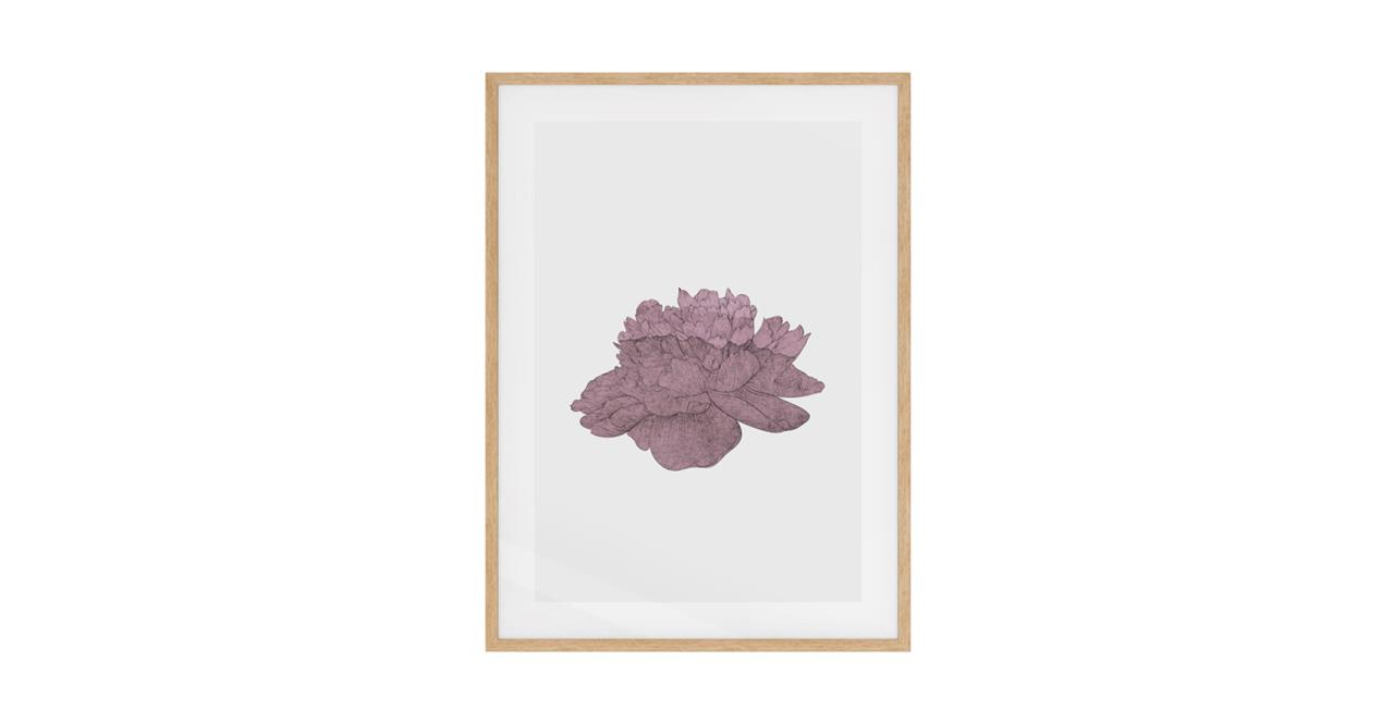 The Flowering Print Natural Wood Frame Small Dusty Pink