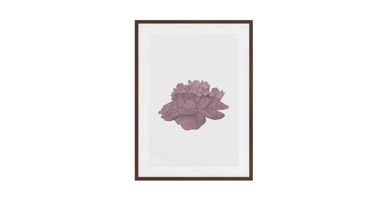 The Flowering Print Dark Brown Wood Frame Small Dusty Pink