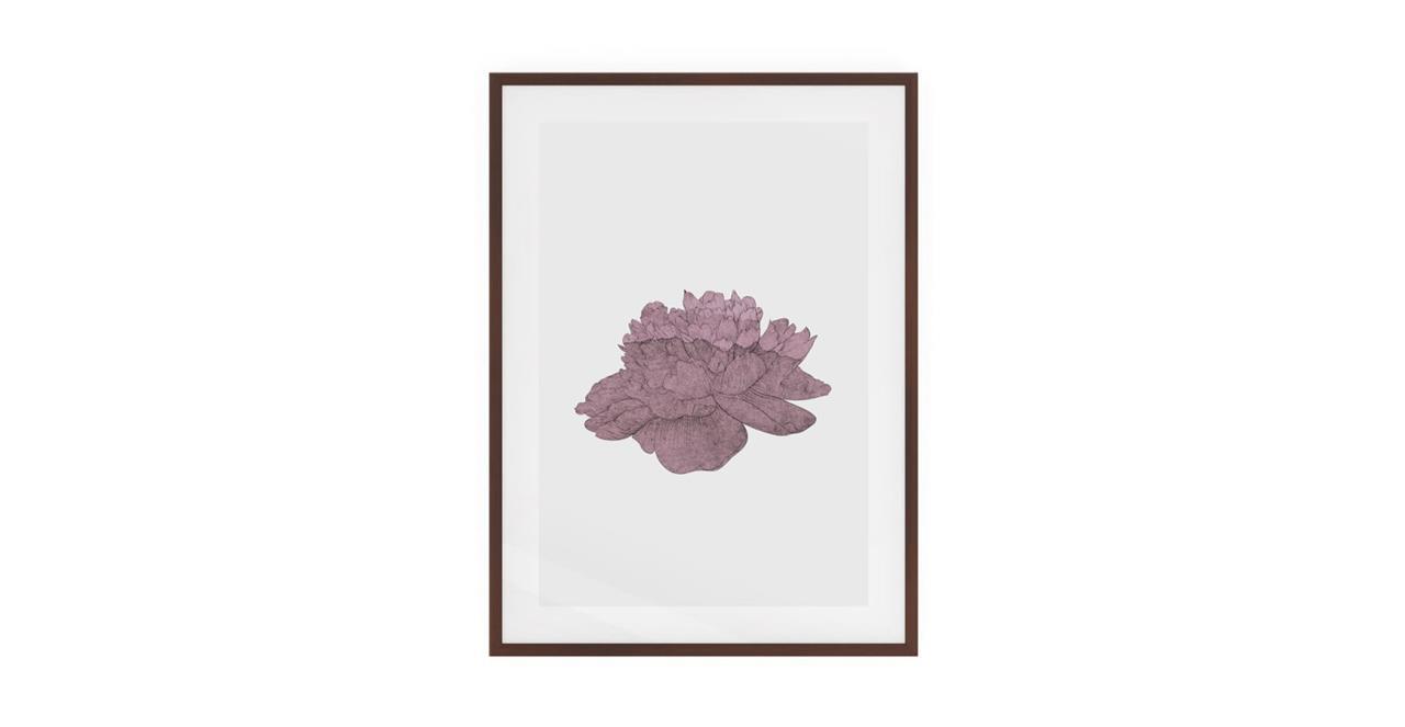 The Flowering Print Dark Brown Wood Frame Medium Dusty Pink
