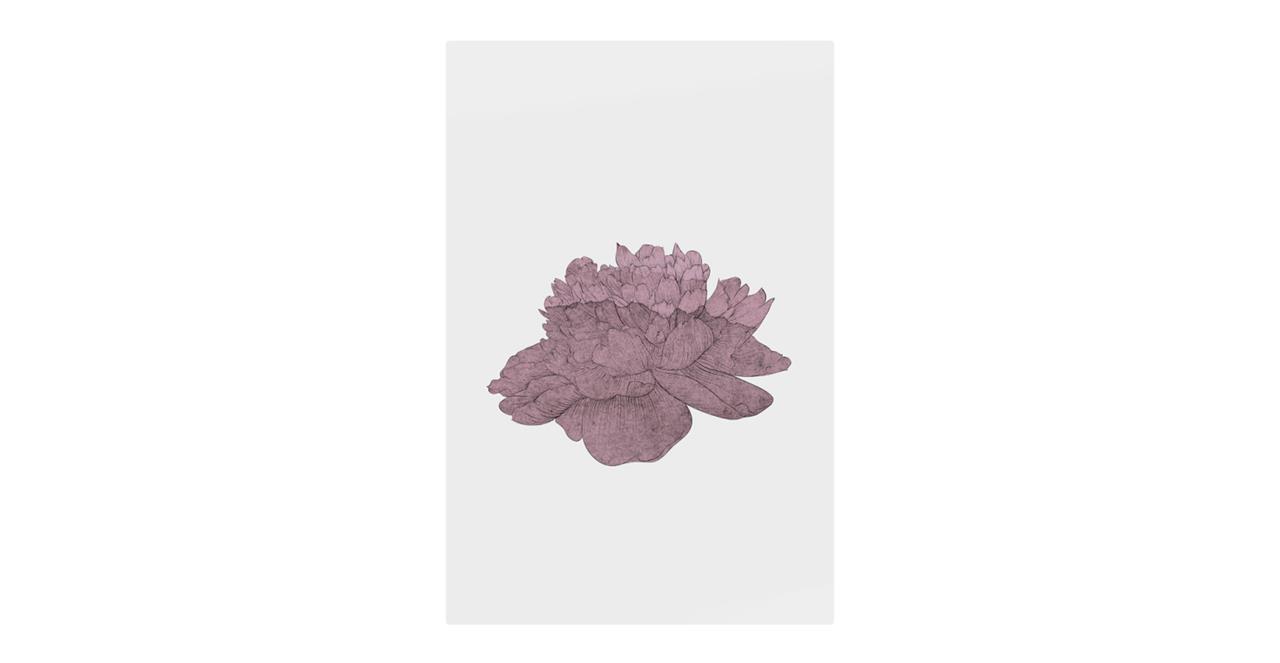 The Flowering Print Metal Print Medium Dusty Pink