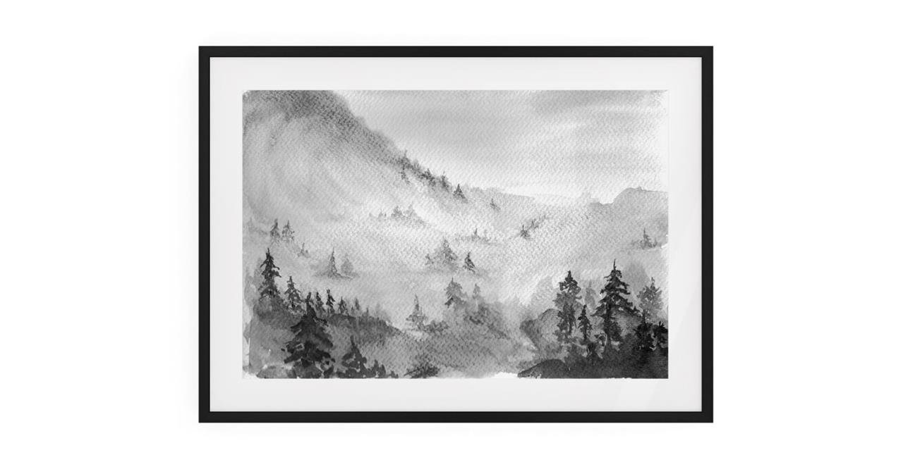The Forest Print Black Wood Frame Small
