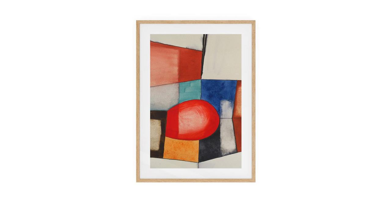 The Fractures Print Natural Wood Frame Small Circle