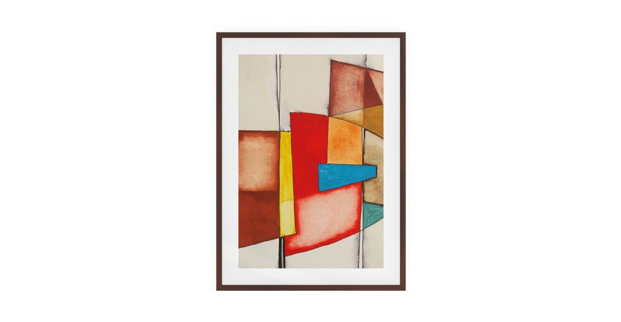 The Fractures Print Dark Brown Wood Frame Small Square