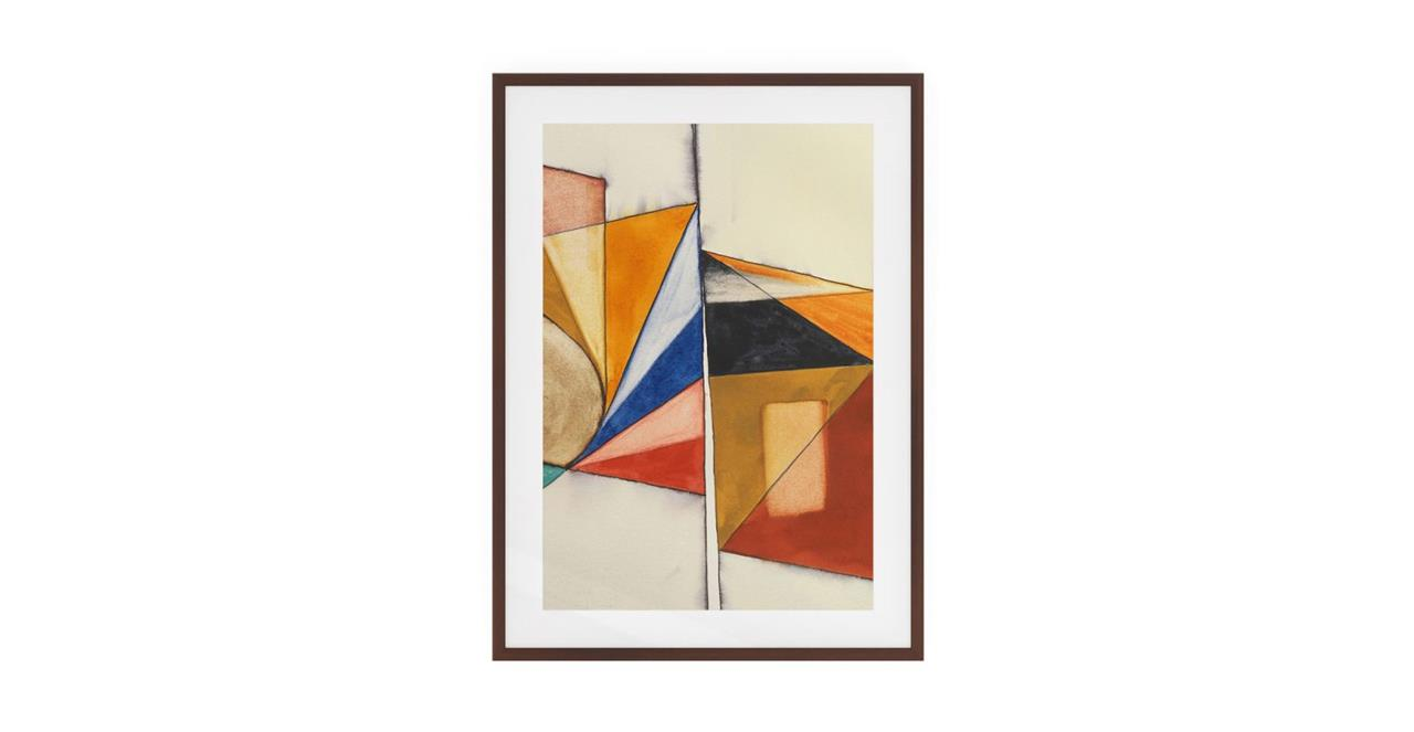 The Fractures Print Dark Brown Wood Frame Small Triangle