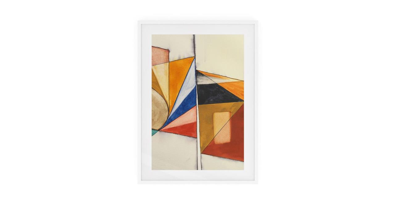 The Fractures Print White Wood Frame Medium Triangle