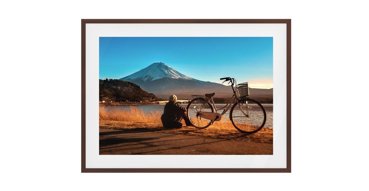 The Fuji Print Dark Brown Wood Frame Small