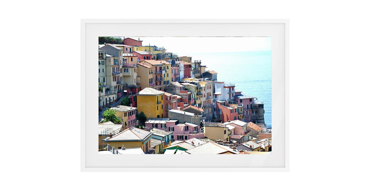 The Riviera Print White Wood Frame Small