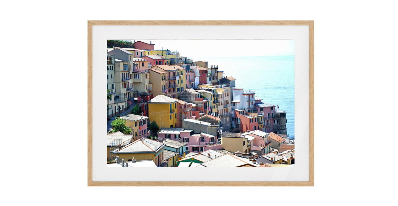 The Riviera Print Natural Wood Frame Small