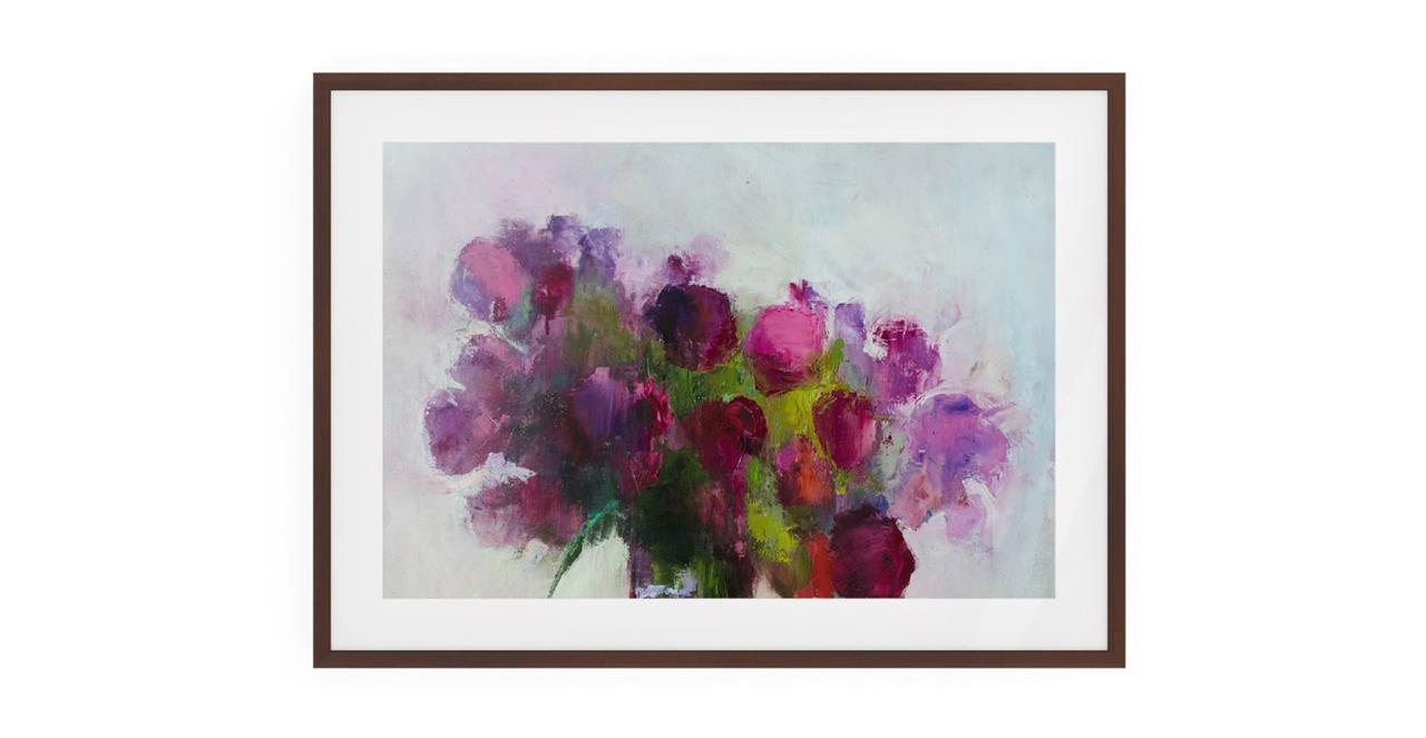 The Roses Print Dark Brown Wood Frame Small