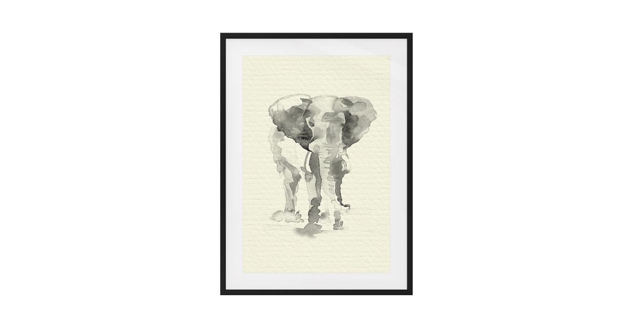 The Safari Print Black Wood Frame Small Elephant
