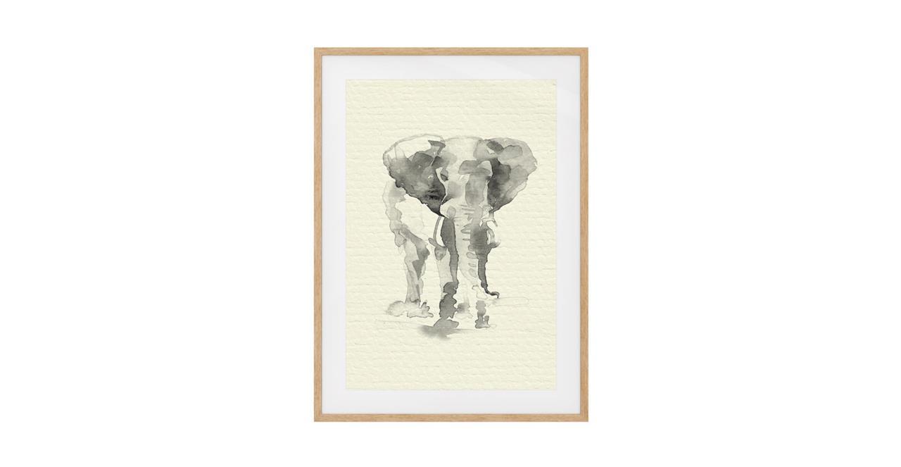 The Safari Print Natural Wood Frame Medium Elephant