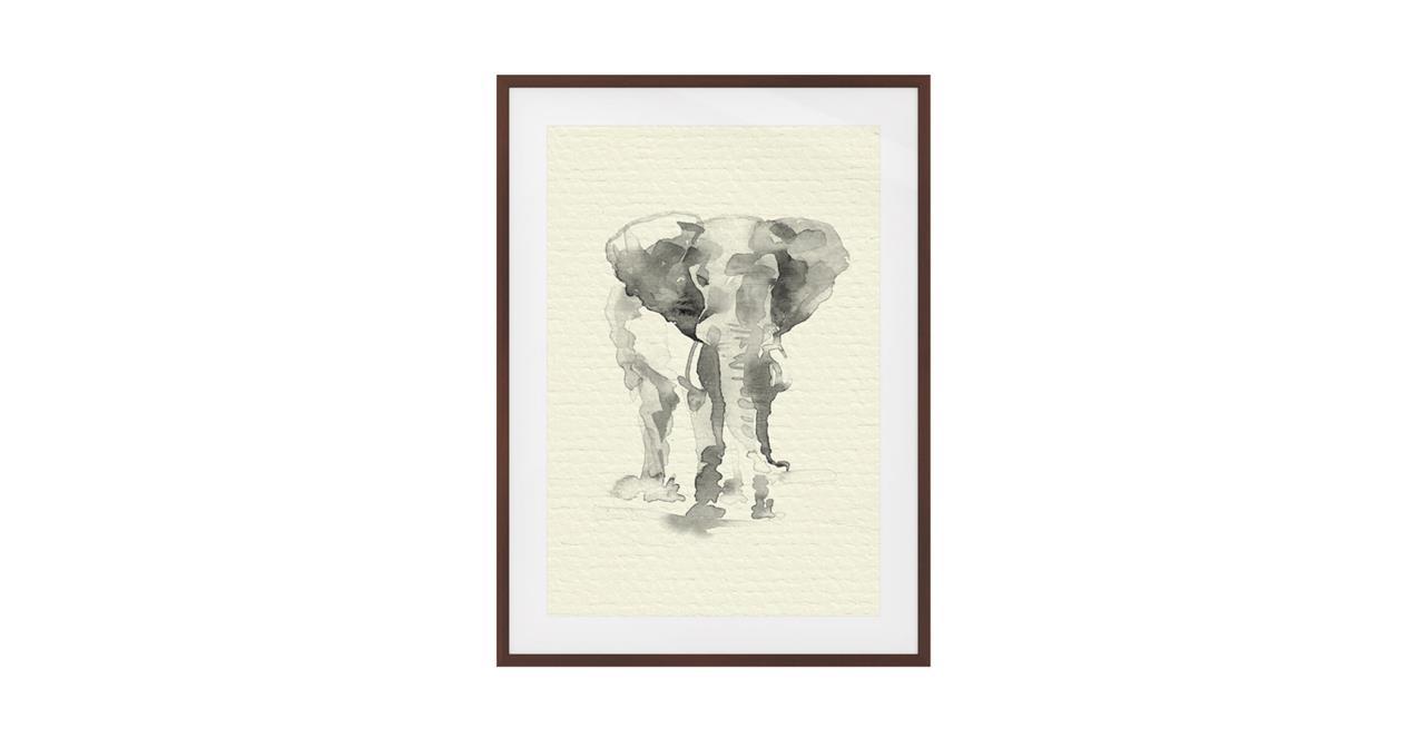 The Safari Print Dark Brown Wood Frame Medium Elephant
