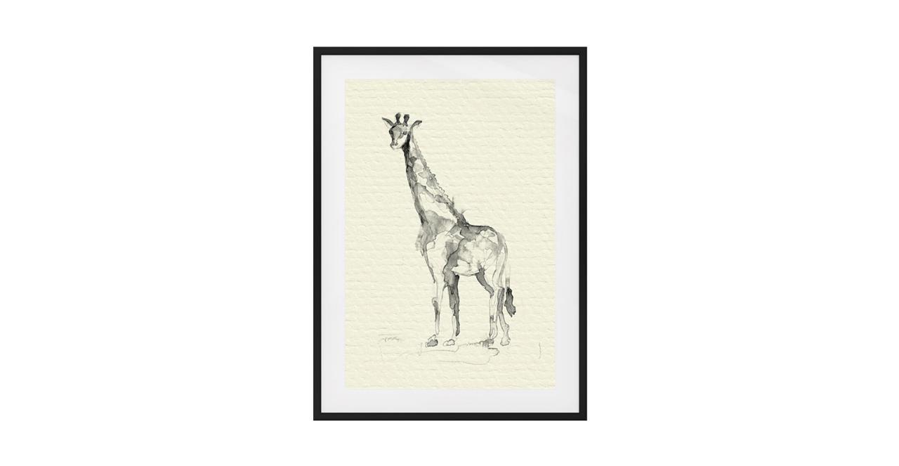 The Safari Print Black Wood Frame Small Giraffe