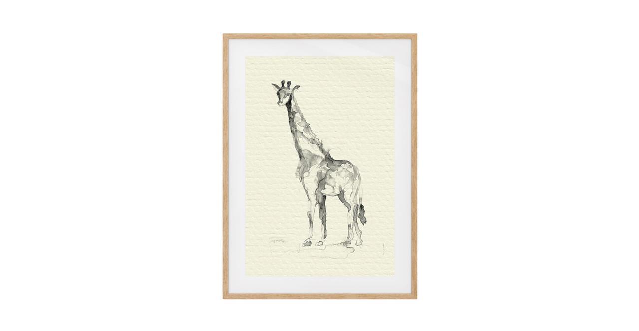 The Safari Print Natural Wood Frame Small Giraffe