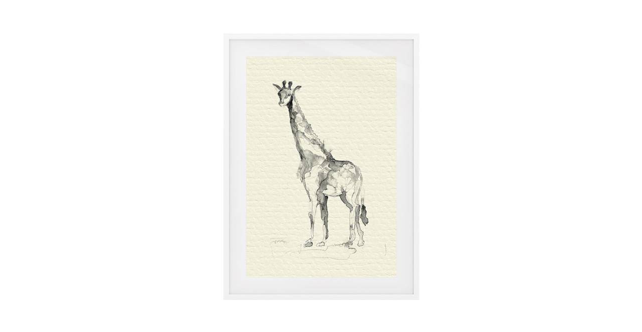 The Safari Print White Wood Frame Medium Giraffe