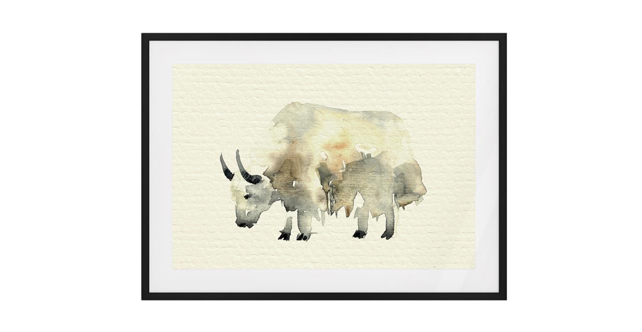 The Safari Print Black Wood Frame Small Yak