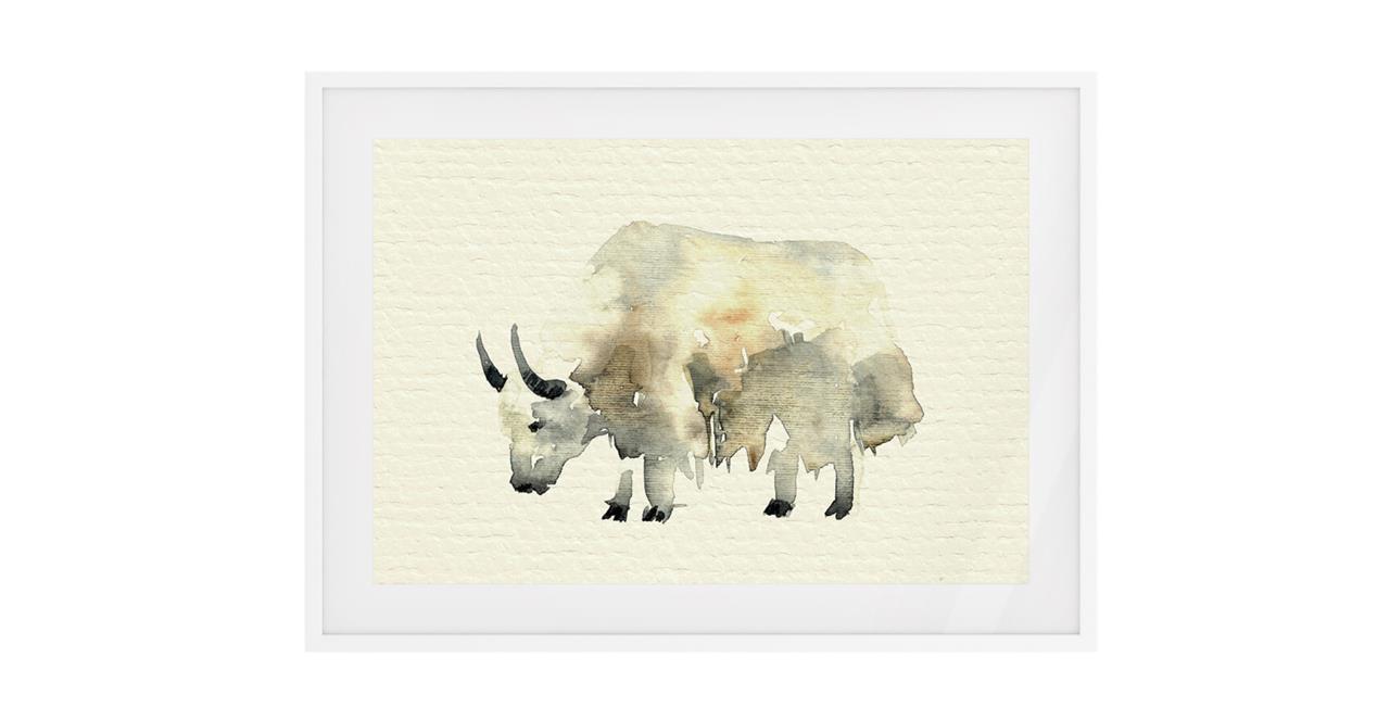 The Safari Print White Wood Frame Small Yak