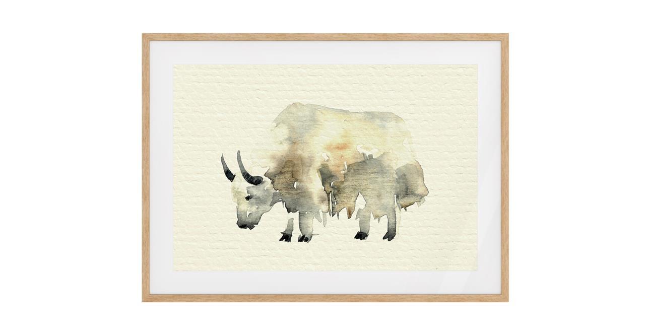 The Safari Print Natural Wood Frame Medium Yak