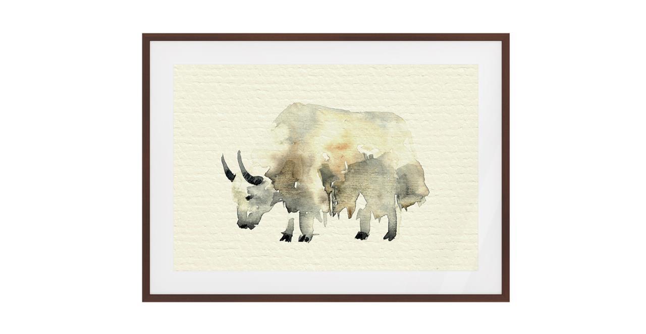 The Safari Print Dark Brown Wood Frame Medium Yak
