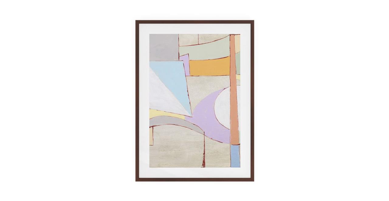 The Sorbet Print Dark Brown Wood Frame Medium Lavender