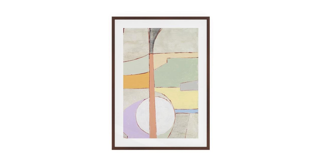 The Sorbet Print Dark Brown Wood Frame Small Green