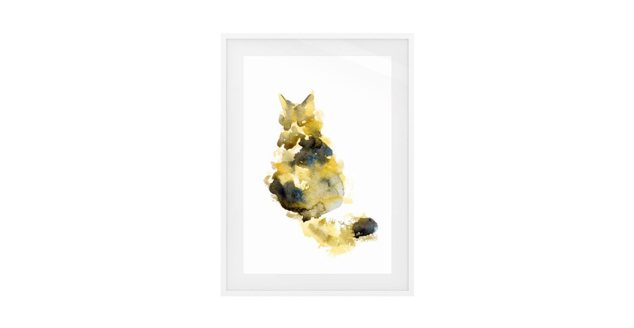 The Spectrum Cat Print White Wood Frame Small