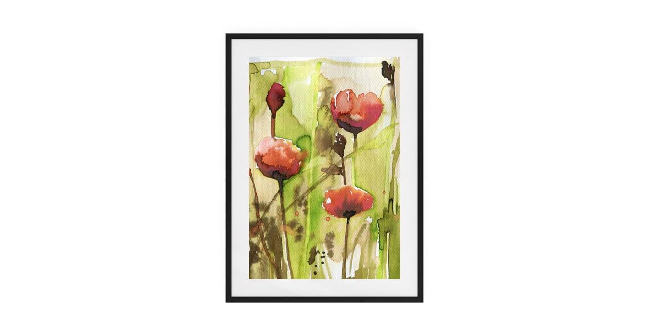 The Stem Print Black Wood Frame Medium