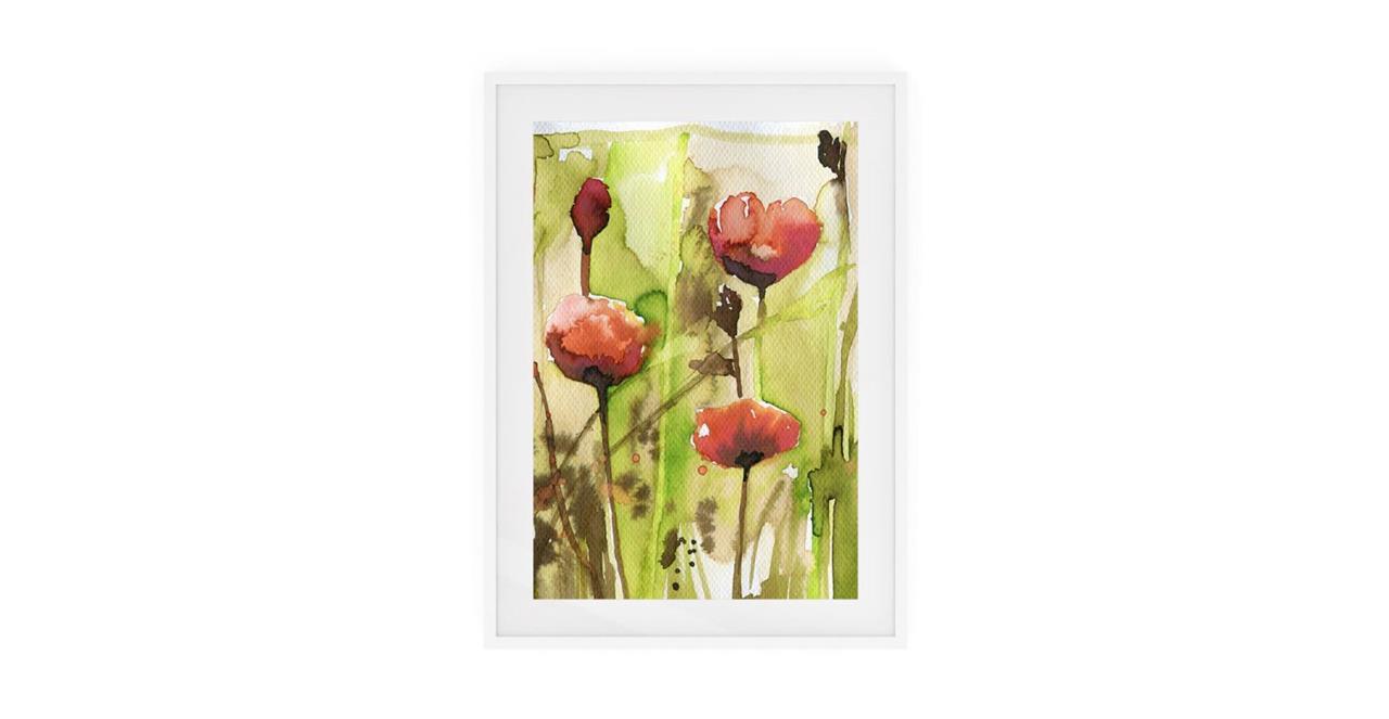 The Stem Print White Wood Frame Medium