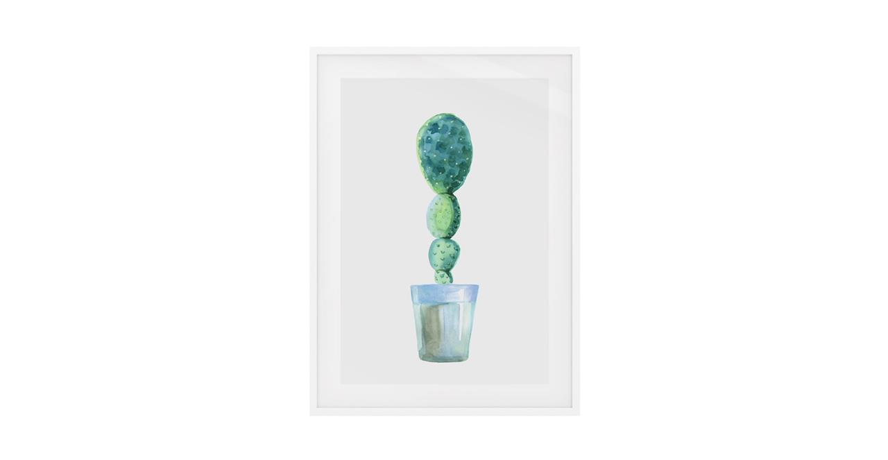 The Succulent Print White Wood Frame Small Cactus