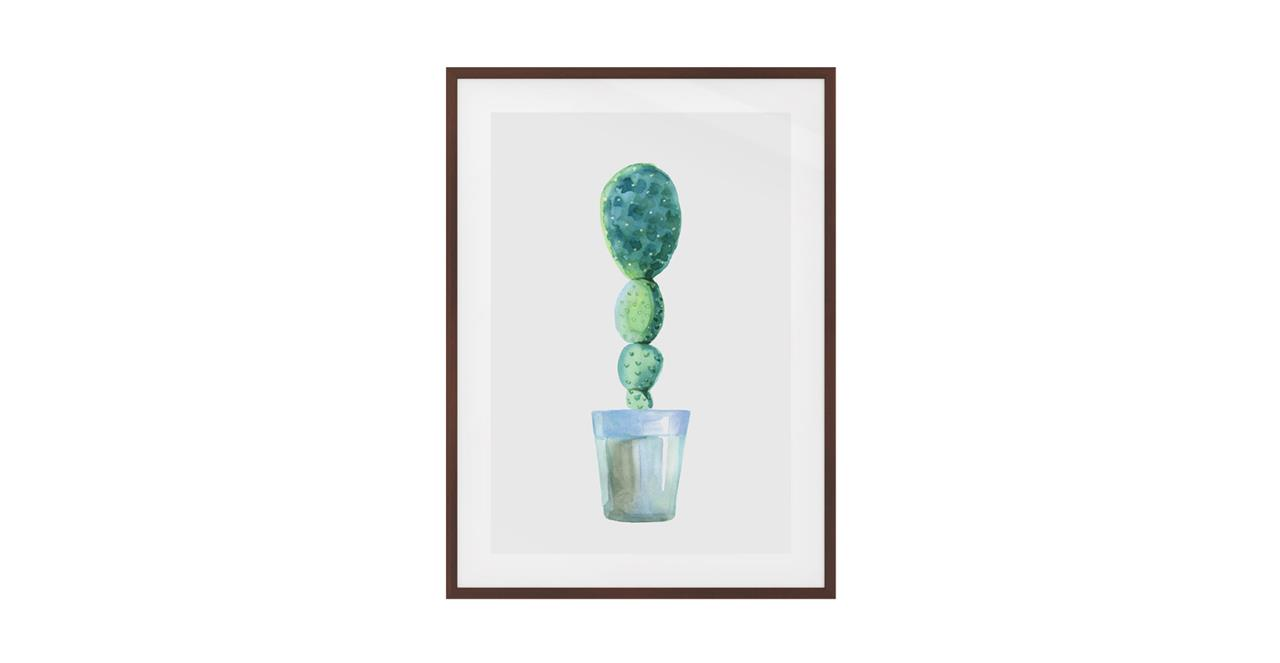 The Succulent Print Dark Brown Wood Frame Small Cactus