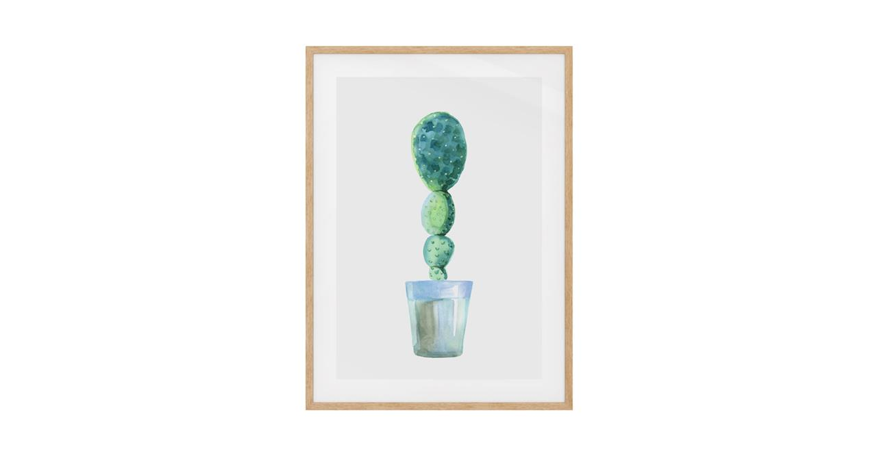 The Succulent Print Natural Wood Frame Medium Cactus