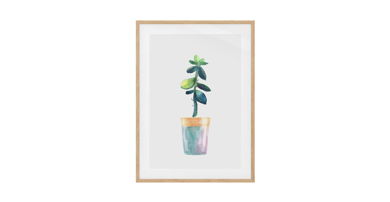 The Succulent Print Natural Wood Frame Small Leaf