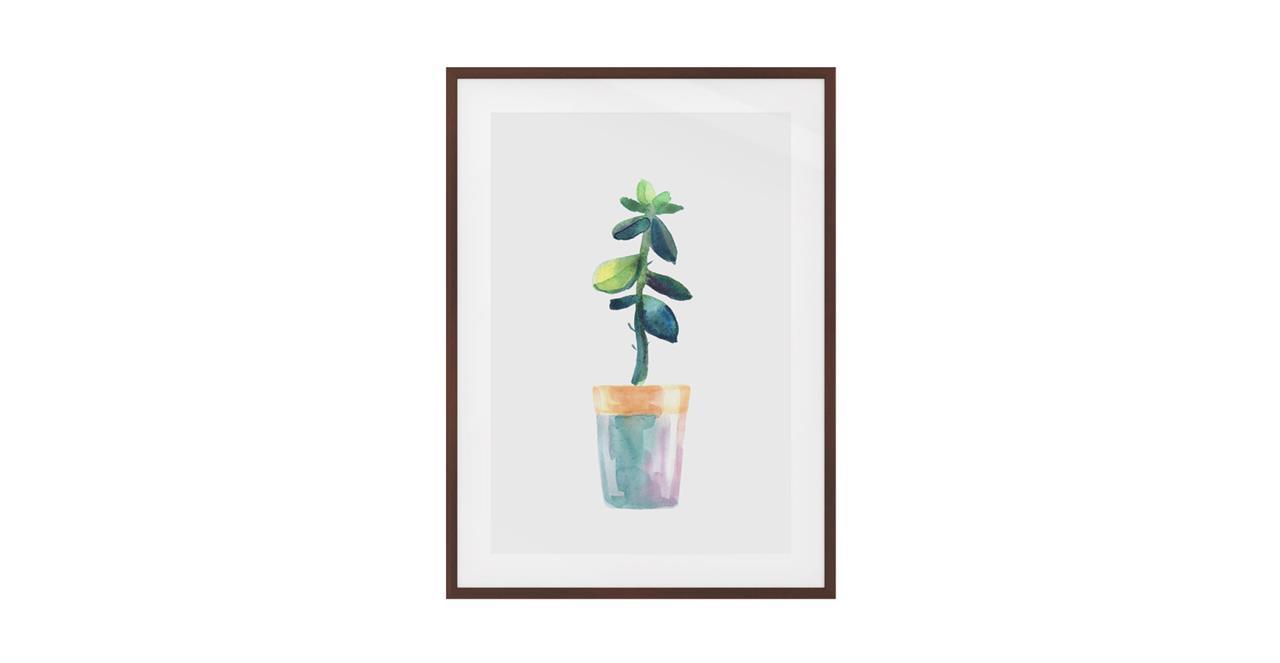 The Succulent Print Dark Brown Wood Frame Small Leaf