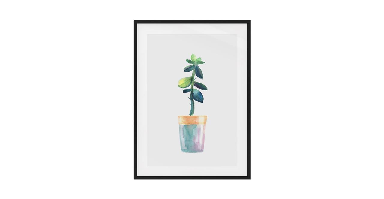 The Succulent Print Black Wood Frame Medium Leaf