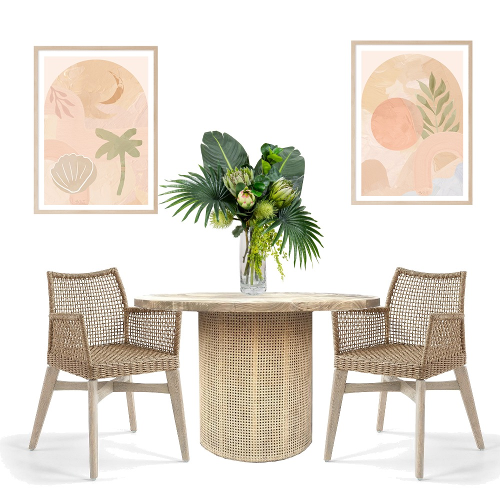 Coastal Boho Dining Interior Design Mood Board by Simplestyling on Style Sourcebook