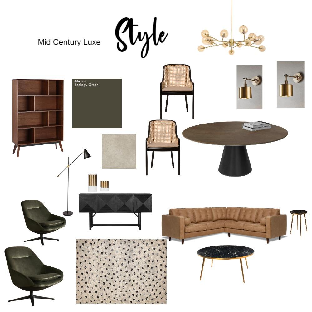 Mid Century Luxe Interior Design Mood Board by Lisa Harper Designs on Style Sourcebook