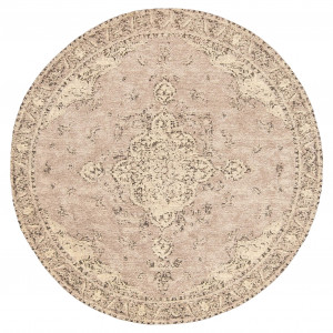 Sadie Coral Peach Turkish Style Distressed Round Rug by Miss Amara, a Contemporary Rugs for sale on Style Sourcebook