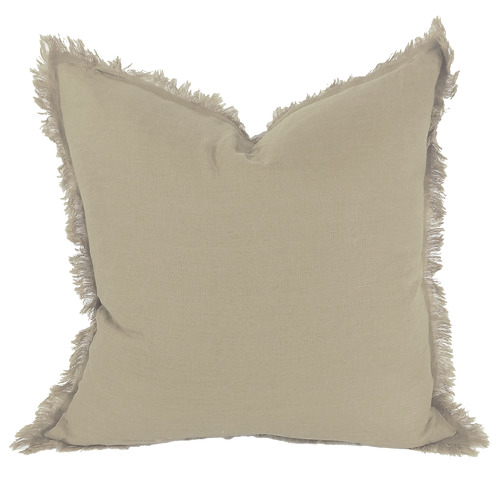 Fringed Hazelhurst French Linen Cushion Size: 50 x 50cm, Colour: Tortilla by Temple & Webster, a Cushions, Decorative Pillows for sale on Style Sourcebook