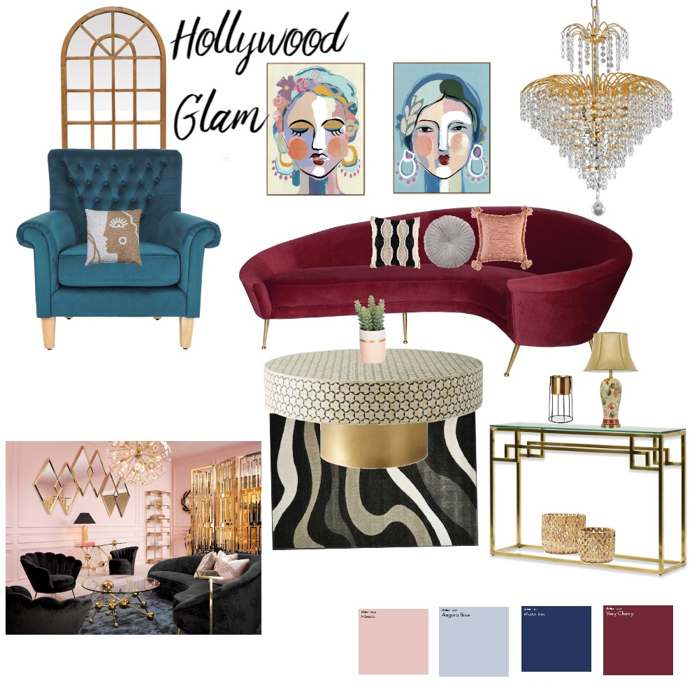 Hollywood glam Interior Design Mood Board by Sapna Dhankani on Style Sourcebook