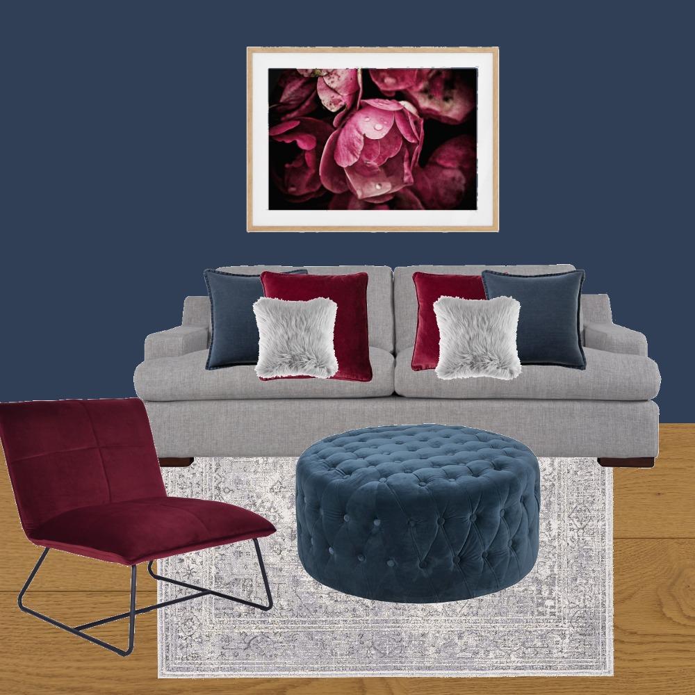 Navy & burgundy Living Space Interior Design Mood Board by MiriamSawan on Style Sourcebook