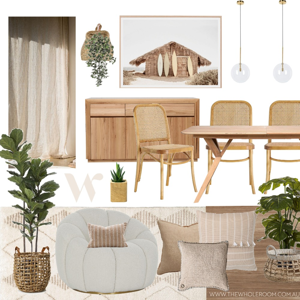 coastal relaxed dining plant Interior Design Mood Board by The Whole Room on Style Sourcebook