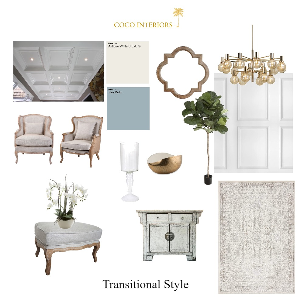 Transitional Style Interior Design Mood Board by Coco Interiors on Style Sourcebook