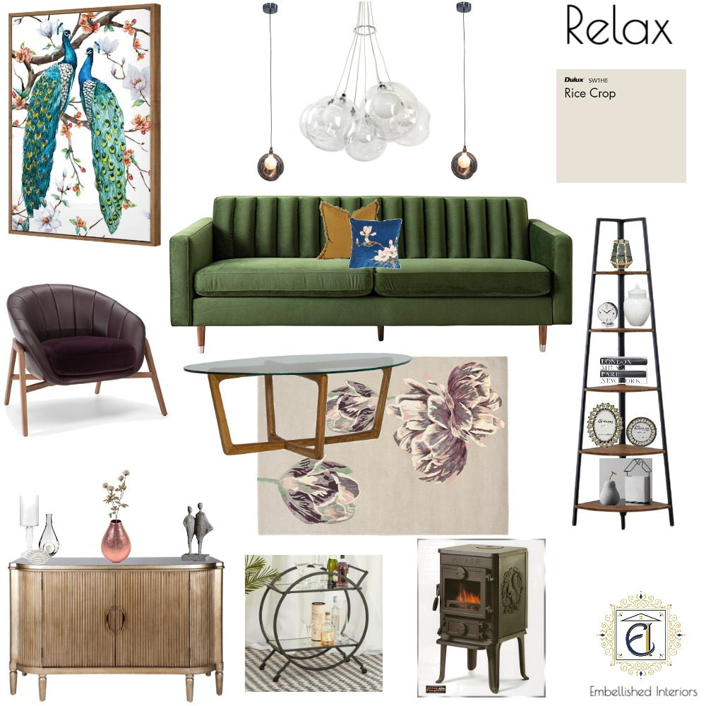 Relax - Living Room Interior Design Mood Board by Embellished Interiors on Style Sourcebook